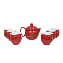 Фарфоровый набор 6 чашек  и чайник  с двойной стенкой, рисунок дракона, 35см (ФА-фн-09)