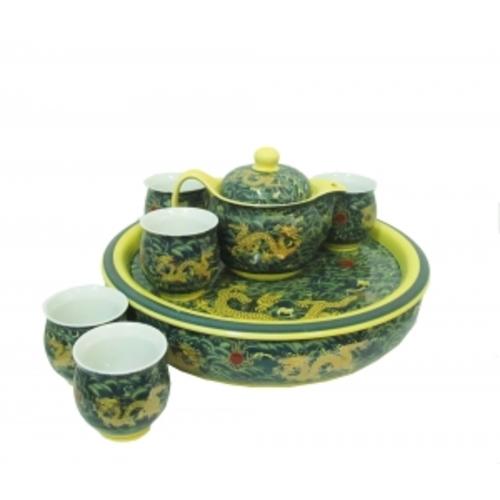 Фарфоровый набор 6 чашек, чайник и поднос с двойной стенкой, рисунок дракона, 55см (ФА-фн-10)