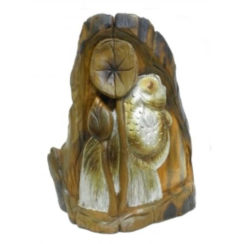 Панно тиковое: золотой или серебряный карась, 2 вида (фа-пт-130)