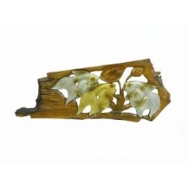 Панно тиковое: 2 золотых и серебряный карась (фа-пт-125)