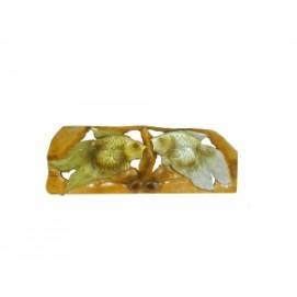 Панно тиковое: золотой и серебряный карась, 2 вида (фа-пт-124)