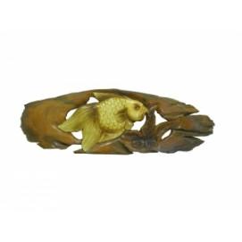 Панно тиковое: золотой или серебряный карась (фа-пт-133)