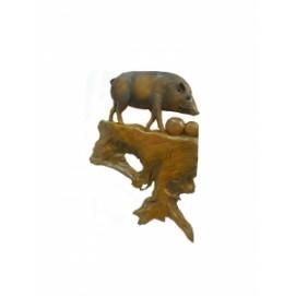 Панно тиковое: кабан, 3 вида (фа-пт-121)