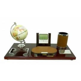 Канцелярские принадлежности: подставка с глобусом под ручки и визитки с электронными часами и термометром (фа-кп-56)