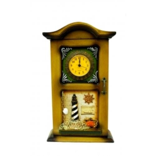 Морская тематика: ключница с часами, под старинный комод (фа-мт-16)