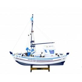 Морская тематика: парусник белый с синим Николай  (фа-мт-05)