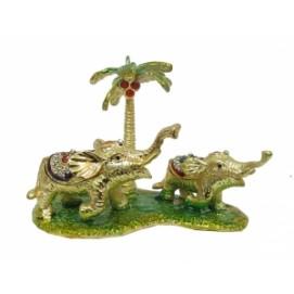 Золотые фигурки: слоны под пальмами (фа-жз-48)