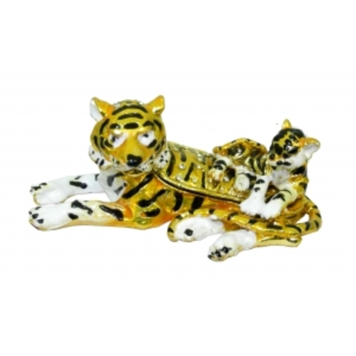 Золотые фигурки: тигр с ребенком (фа-жз-37)