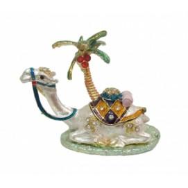 Золотые фигурки: шкатулка-верблюд под пальмой (фа-жз-49)