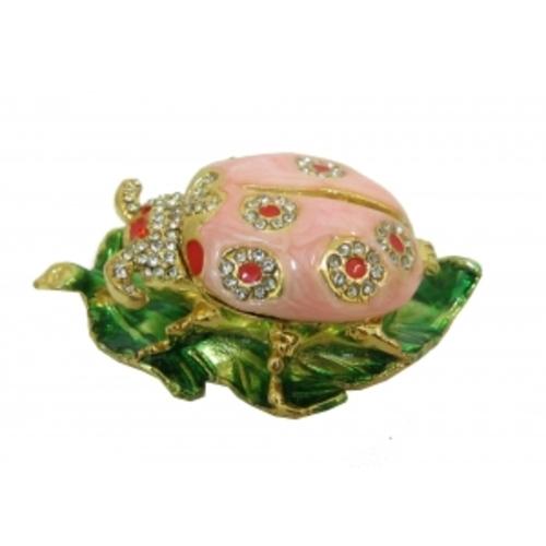 Золотые фигурки: розовый жук на листке (фа-жз-52)