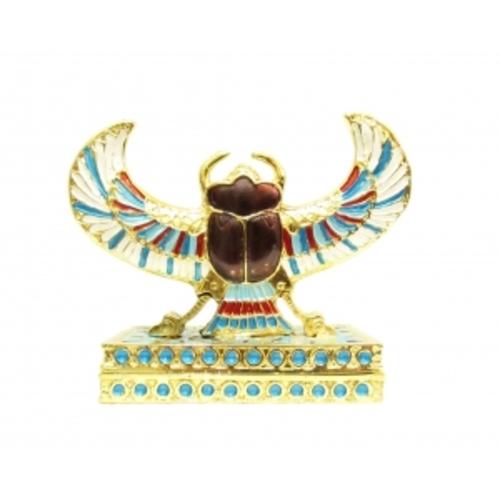 Шкатулка - жук скарабей цветной под золото, 12см (ФА-жз-26)