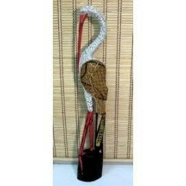 Статуетка Индонезия аист голова вниз белый крекинг с батиком (фа-пт-68)