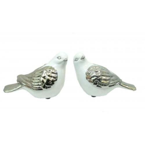Статуэтка Керамические голуби, пара, белые с серебром (кг-02)