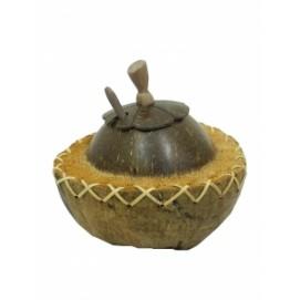Кокосовая сахарница с крышкой и ложкой (ки-19)