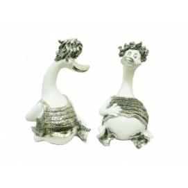 Статуэтка два гуся с серебром наелись и сидят (Фа-пф-30)