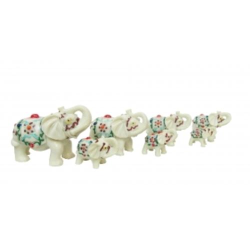 Статуэтка 7 белых слонов с рисунком 49см (Фа-пф-27)