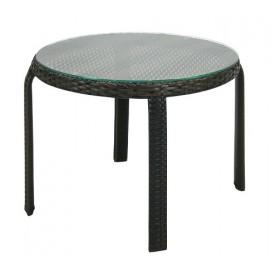Столик круглый приставной ротанговый со стеклом темно-коричневый 5113372 Evelek