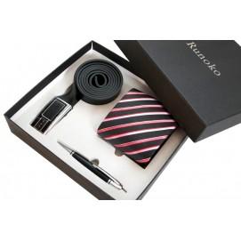 Набор подарочный мужской  #16: шелковый галстук, кожаный ремень, ручка S16 Runoko