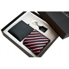 Набор подарочный мужской  #17: кожаное портмоне, шелковый галстук, брелок S17 Runoko