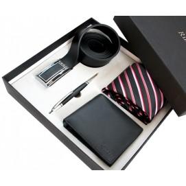 Мужской подарочный набор  #14: кожаное портмоне, кожаный ремень, шелковый галстук, ручка S14 Runoko