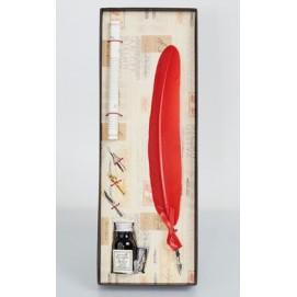 Набор из пера, 3х насадок, чернила и свитка La Kaligrafica 7229-22 красный