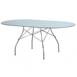 Стол обеденный овальный Спайдер Mebelmodern прозрачный