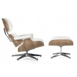 Кресло Eames Style Lounge Chair & Ottoman тепло-белая кожа/орех S00050 ОРИГИНАЛ