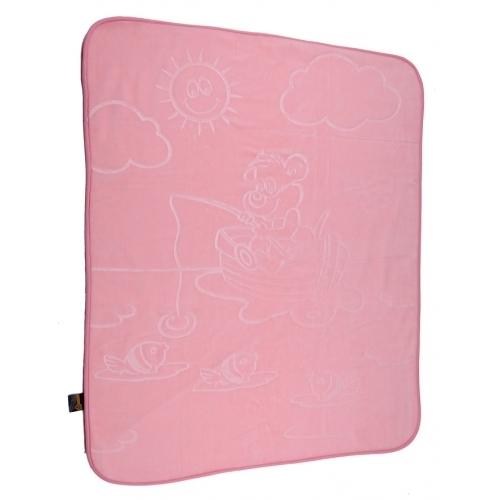 Плед 110х140 прес детский розовый